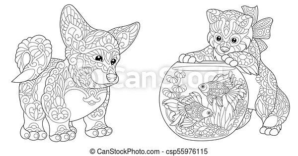 Corgi Dog and Kitten - csp55976115