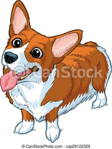 corgi, heureux, vecteur, dessin animé, chien - csp29122329