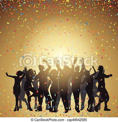 coriandoli, festa, persone fondo - csp49542585