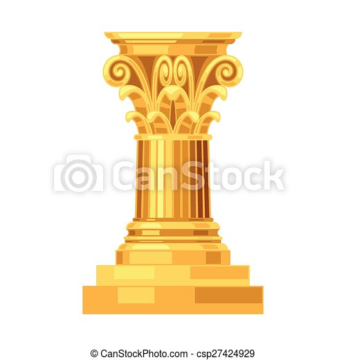 Corinthian realistic antique greek gold column isolated - csp27424929