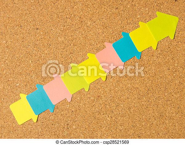 cork board colored diagonal arrows - csp28521569