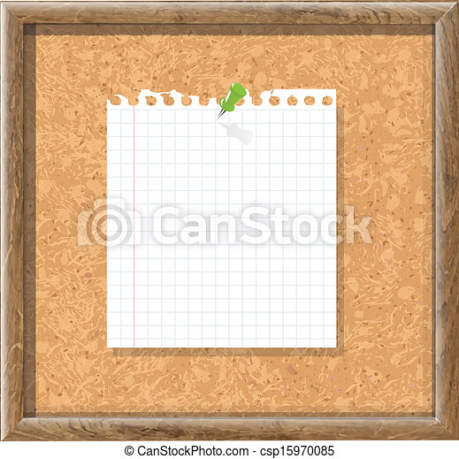 Cork Board With Blank Note Paper And Green Pin - csp15970085