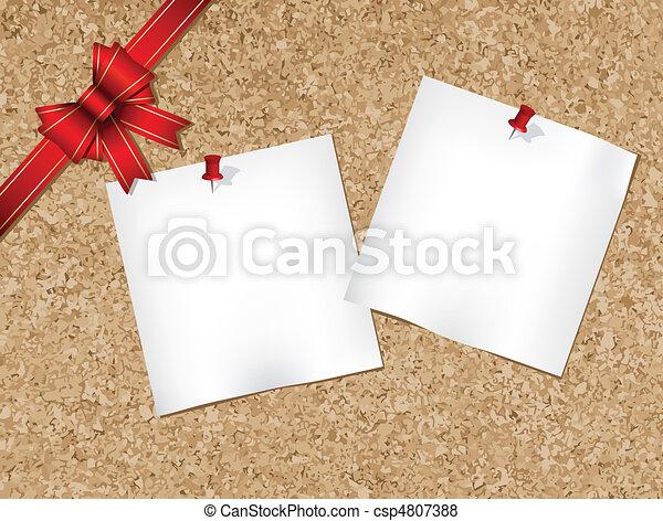 Cork bulletin board with ribbon  - csp4807388