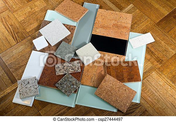 Cork quartz glass tiles and wood - csp27444497