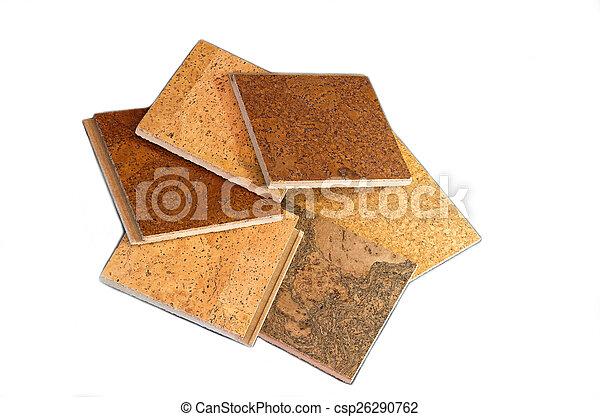 Cork Tiles Against White Background - csp26290762