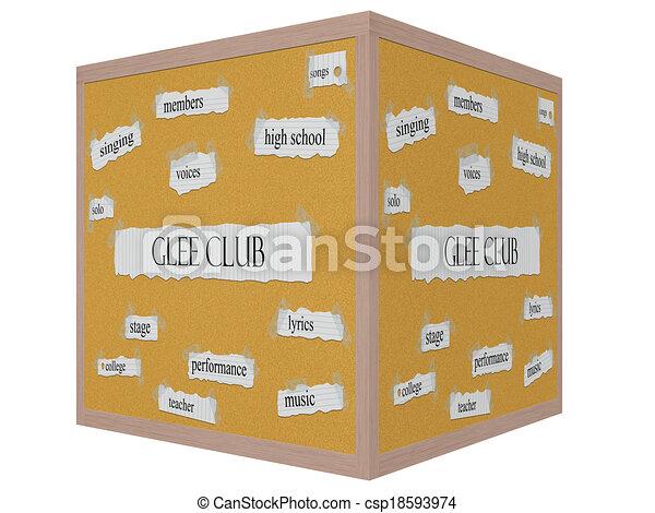 Corkboard 3D cube Word Concept - csp18593974