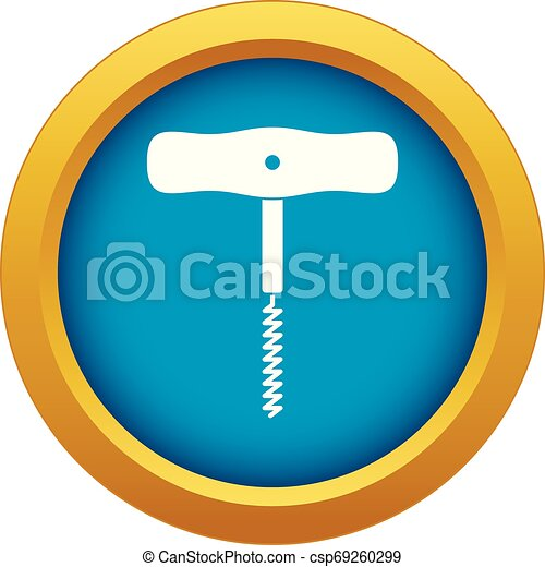 Corkscrew with a metal spiral icon blue vector isolated - csp69260299