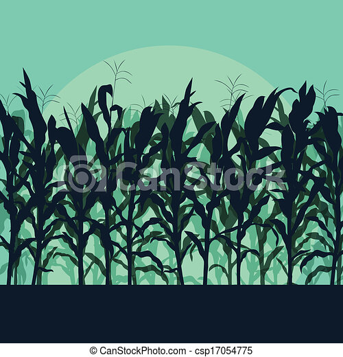 Corn field detailed countryside landscape illustration background vector in moonlight - csp17054775