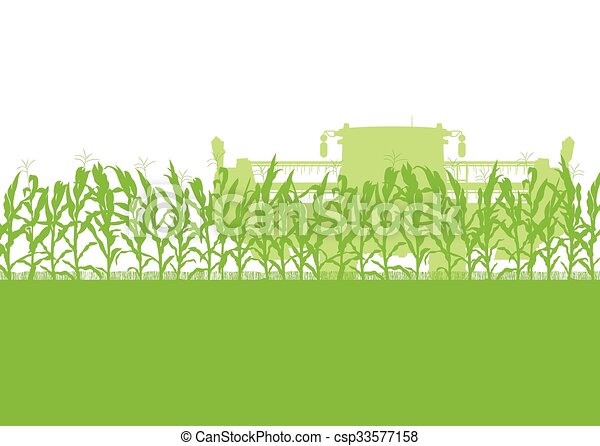 corn field harvesting with combine harvester green ecology rh canstockphoto com free clipart corn field cornfield silhouette clipart