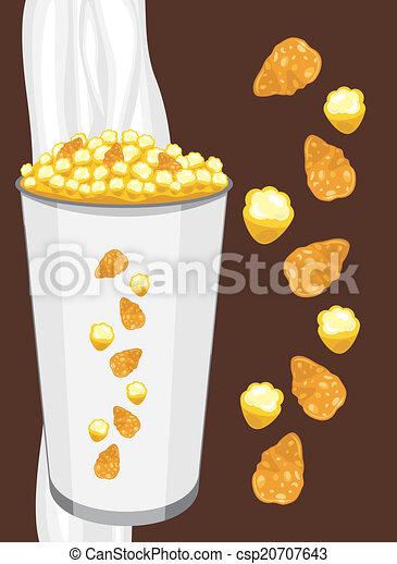 Corn flakes and popcorn  - csp20707643