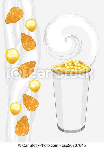 Corn flakes and popcorn  - csp20707645