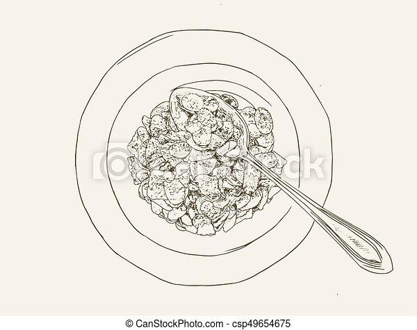 Corn flakes cereal ,sketch vector. - csp49654675