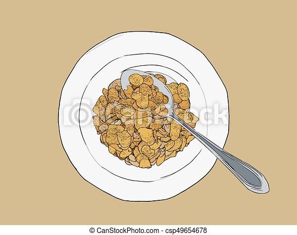 Corn flakes cereal ,sketch vector. - csp49654678