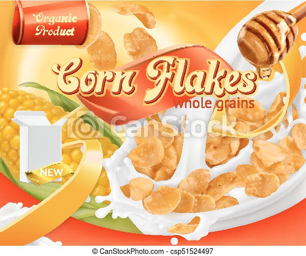 Corn flakes, honey and milk splashes. 3d realistic vector, package design - csp51524497