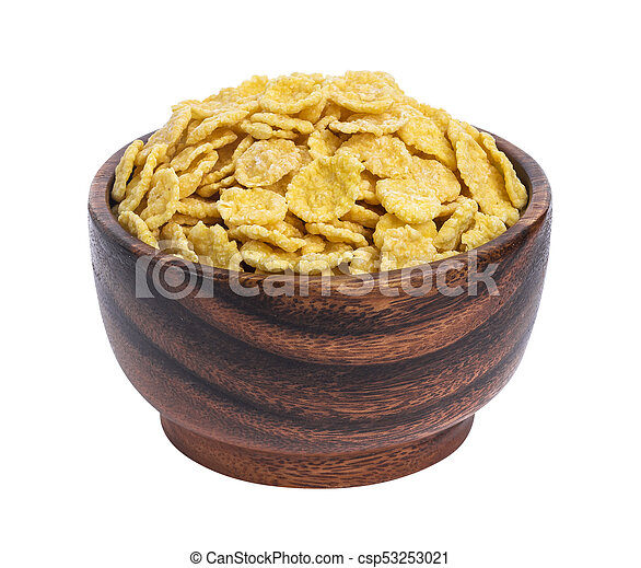 Corn flakes in wooden bowl isolated on white background - csp53253021
