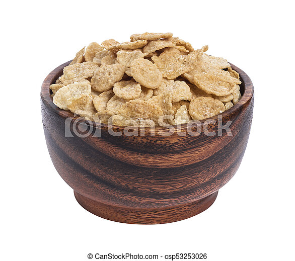 Corn flakes in wooden bowl isolated on white background - csp53253026