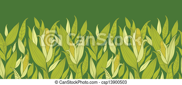 Corn plants horizontal seamless pattern background border - csp13900503