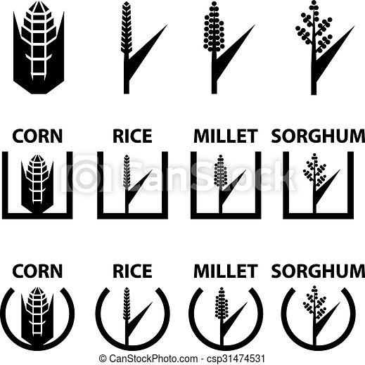 corn rice millet sorghum cereal symbols - csp31474531