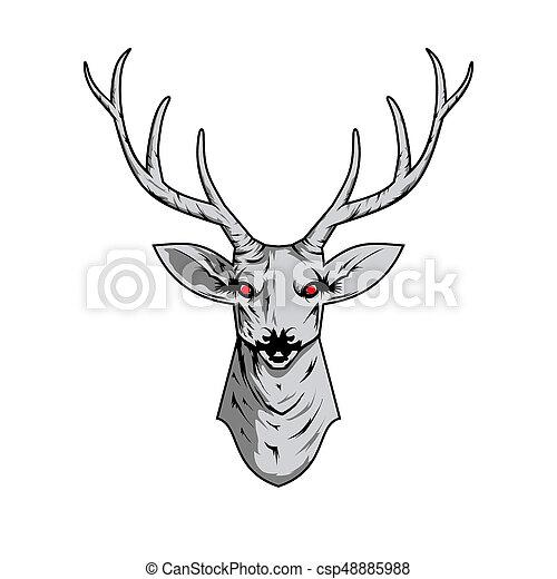 Cornamenta, cráneo, venado, pattern., ilustración, boho, contorno ...