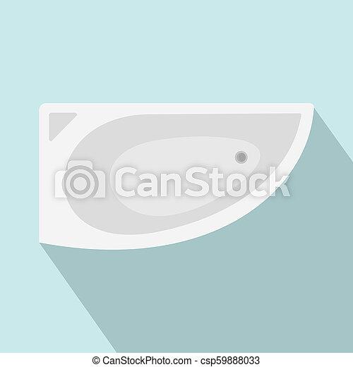 Corner bathtube icon, flat style - csp59888033