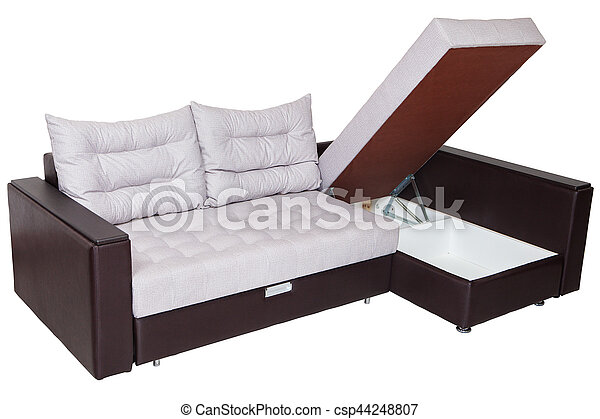 Corner convertible sofa bed with storage system, upholstery white fabric.