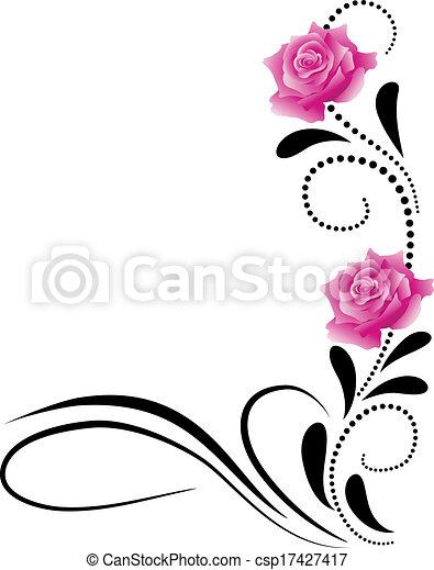 Corner decorative floral ornament - csp17427417