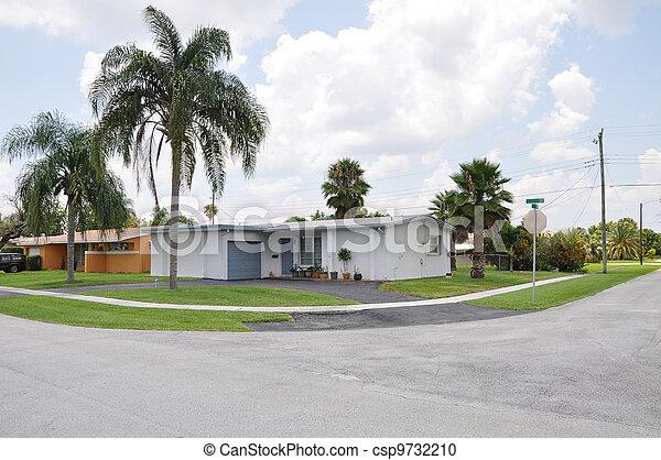 Corner in Suburban Neighborhood - csp9732210