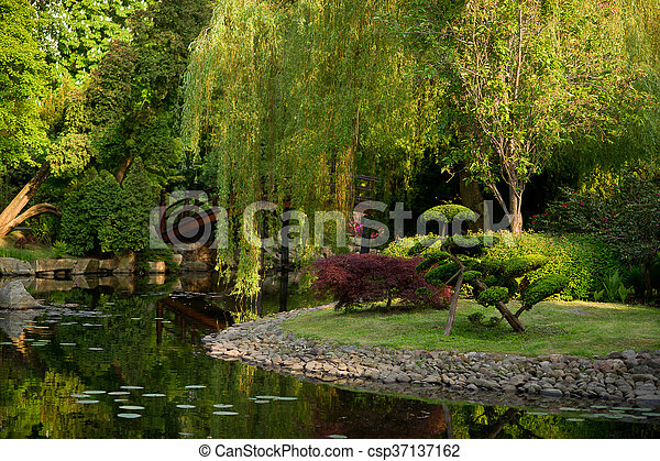 Corner Of Japanese Garden With A Pond Above The Pond Bent Trees