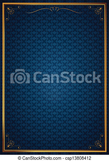 Corner patterns on blue wallpaper - csp13808412