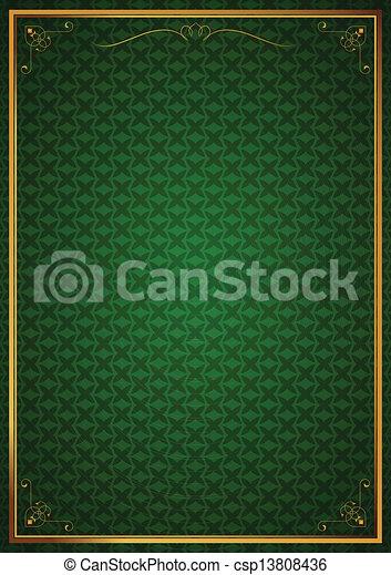 Corner patterns on green wallpaper - csp13808436
