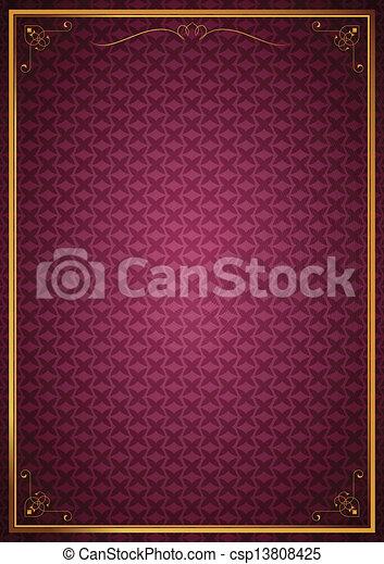 Corner patterns on pink wallpaper - csp13808425