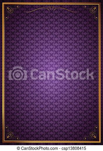 Corner patterns on purple wallpaper - csp13808415