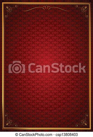 Corner patterns on red wallpaper - csp13808403