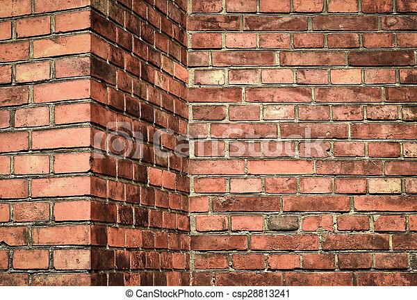 Corner Red Brick Wall