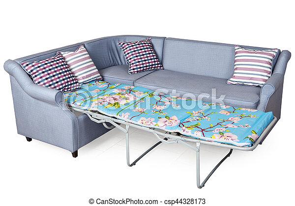 Corner sleeper sofa folding bed, upholstered in fabric light gray.