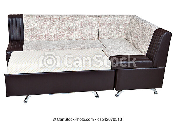 Corner sofa bed in imitation leather, furniture for kitchen, isolated.