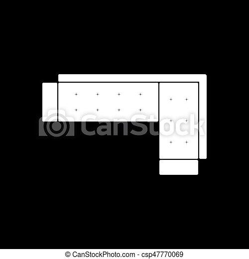 Corner Sofa Icon Black Background With White Vector Illustration