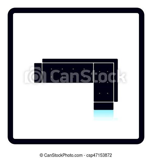 Corner Sofa Icon Shadow Reflection Design Vector Illustration