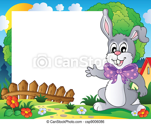 cornice, 2, pasqua, tema, coniglietto - csp9006086