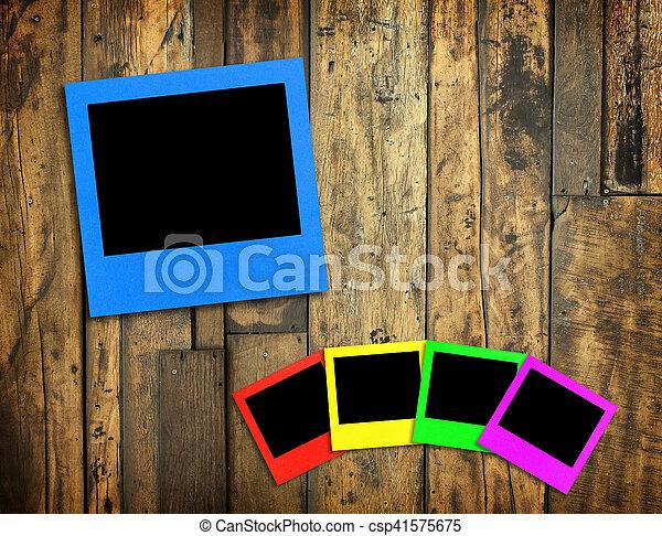 cornice foto, legno, fondo - csp41575675