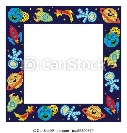 cornice, pixel, cartone animato, spazio - csp53690379