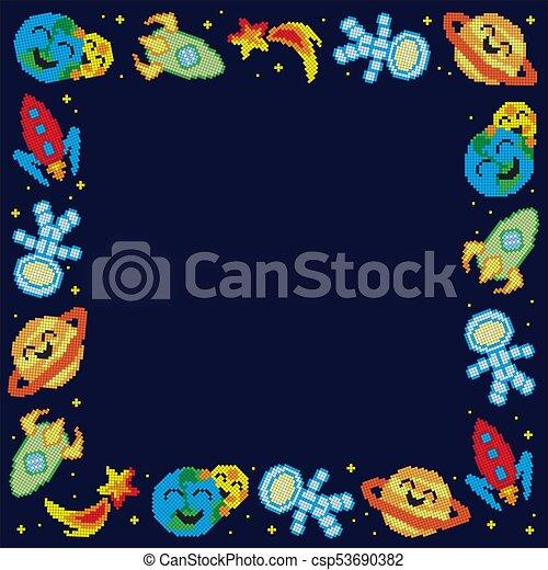 cornice, pixel, cartone animato, spazio - csp53690382