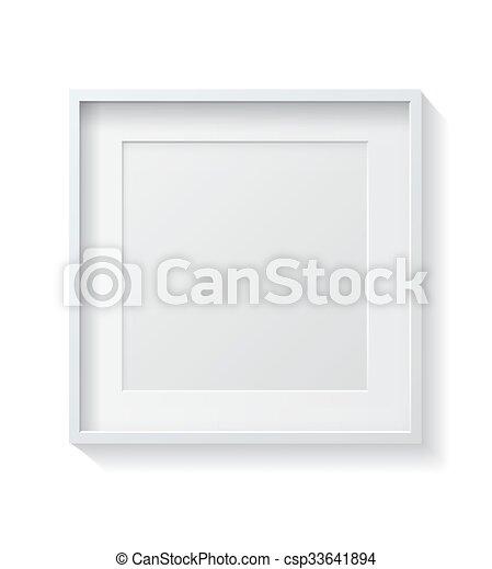 cornice, quadrato, vuoto, immagine, front., bianco, appendere, realistico, parete - csp33641894