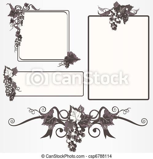 cornice, set, uva, ornare - csp6788114
