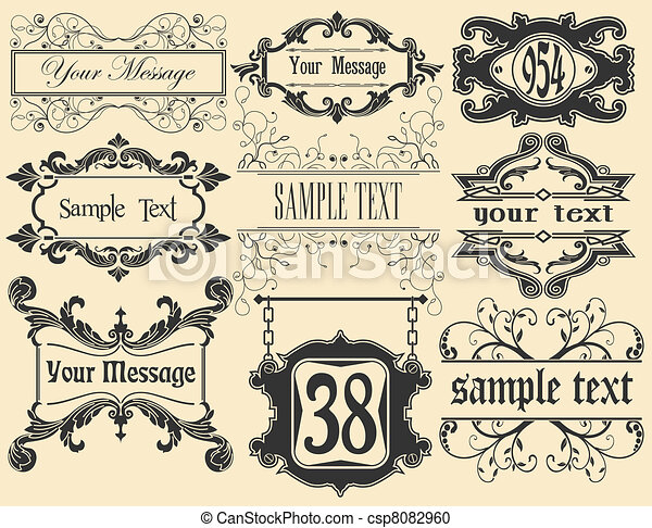 cornici, grande, stile, set, vint - csp8082960