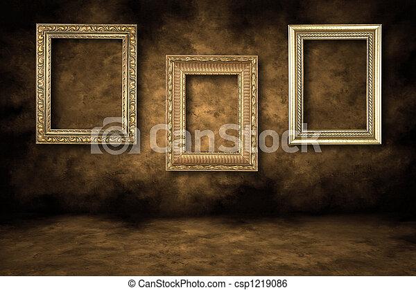 cornici, guilded, immagine, vuoto, appendere - csp1219086