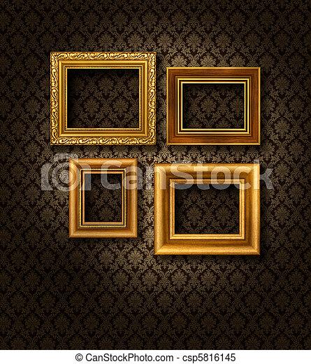 Cornici parete oro damasco dorato damasco parete modello quattro carta cornici scuro - Cornici foto da parete ...