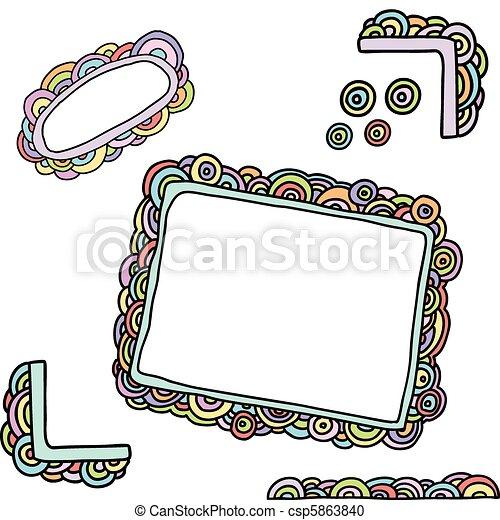 cornici, scarabocchiare, arcobaleno - csp5863840