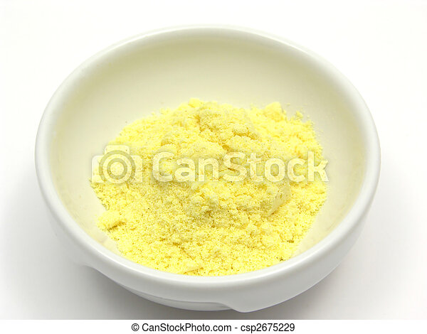 Cornmeal in a bowl of chinaware on white background - csp2675229