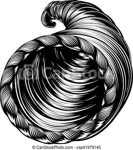Cornucopia Horn of Plenty Woodcut - csp41979145